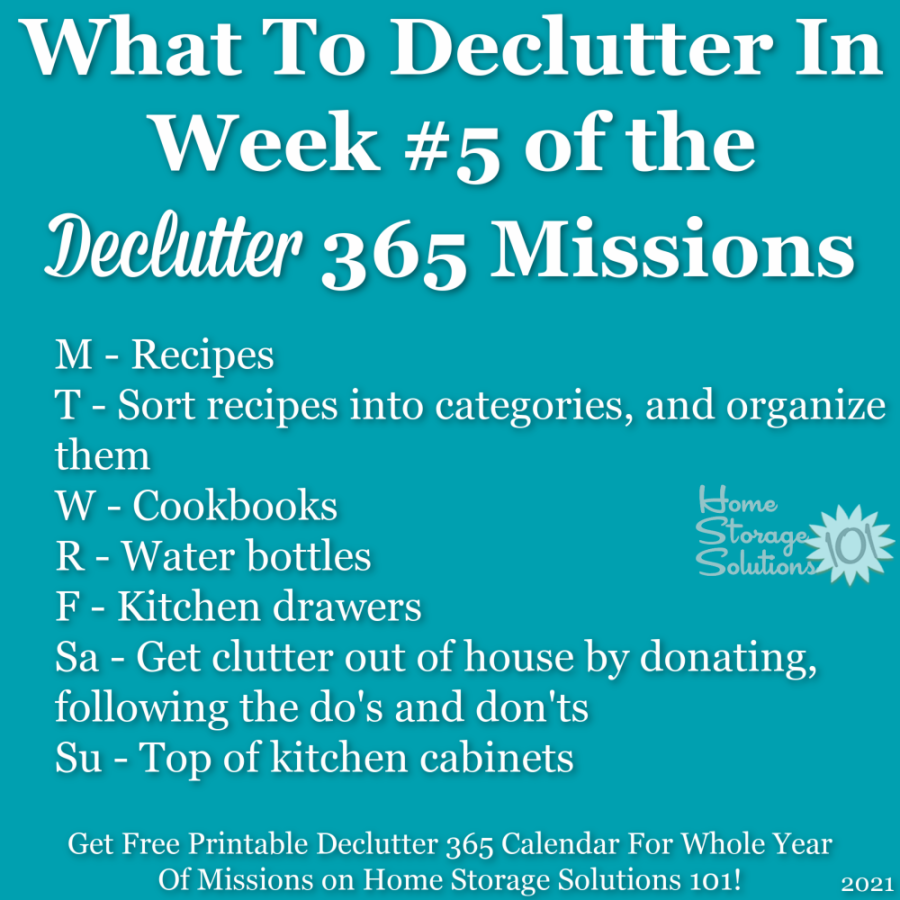 What to declutter in week #5 of the Declutter 365 missions {get a free printable Declutter 365 calendar for a whole year of missions on Home Storage Solutions 101!}