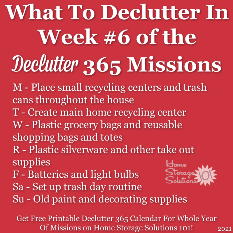What to declutter in week #6 of the Declutter 365 missions {get a free printable Declutter 365 calendar for a whole year of missions on Home Storage Solutions 101!}