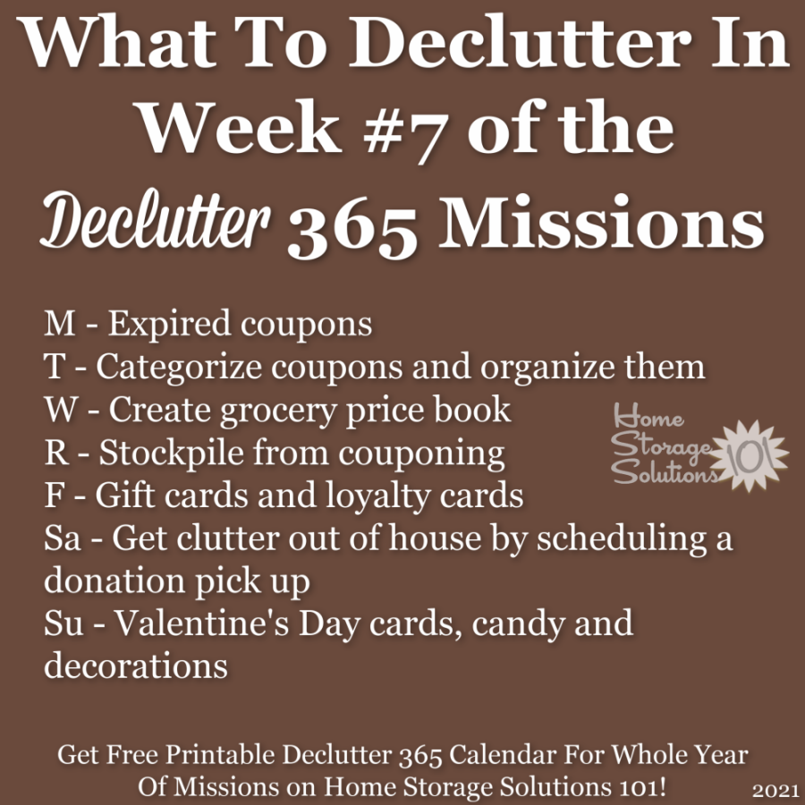 What to declutter in week #7 of the Declutter 365 missions {get a free printable Declutter 365 calendar for a whole year of missions on Home Storage Solutions 101!}
