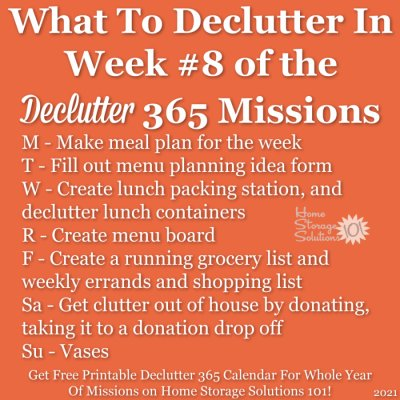 What to declutter in week #8 of the Declutter 365 missions {get a free printable Declutter 365 calendar for a whole year of missions on Home Storage Solutions 101!}