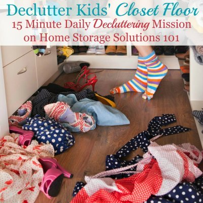 How to declutter kids' closet floor {a #Declutter365 mission on Home Storage Solutions 101} #ClosetClutter #DeclutterCloset