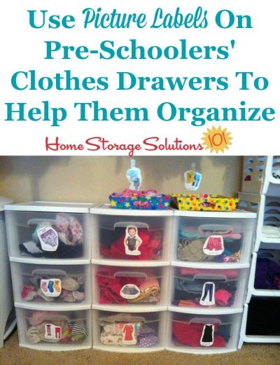 Just because a child isn't old enough to read doesn't mean he or she cannot be organized, so use picture labels for their clothes drawers {featured on Home Storage Solutions 101}
