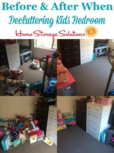 Before and after photos when decluttering kids' bedroom {on Home Storage Solutions 101} #BedroomClutter #DeclutterBedroom #KidsBedroomClutter