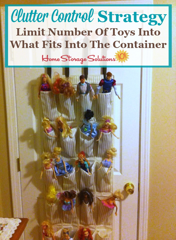 Use this clutter control strategy for collections of toys: limit the number of toys to what fits into the container {on Home Storage Solutions 101} #ClutterControl #ToyClutter #ToyStorage