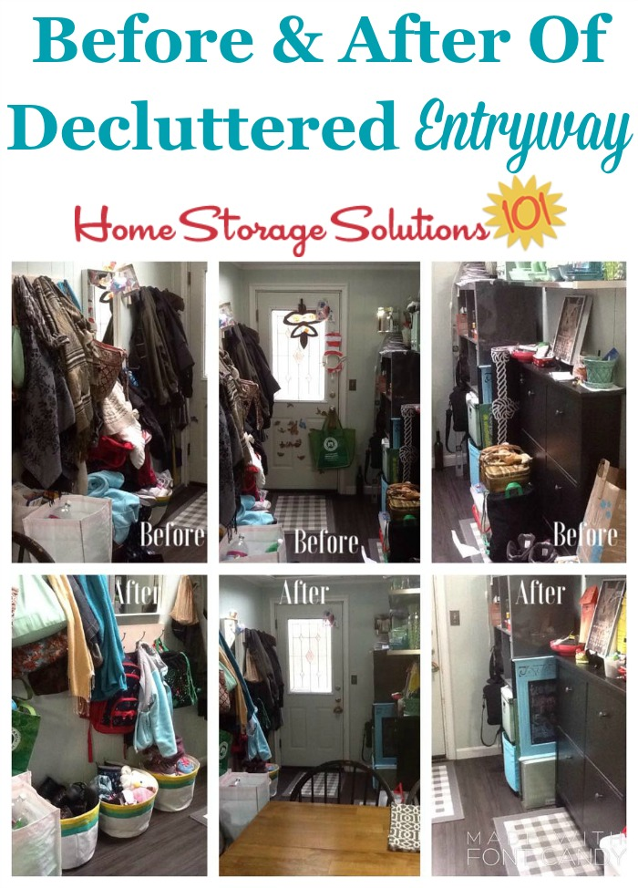 Before and after photos of decluttered entryway of a home, to make things more functional for everything that comes into or out of the house {featured on Home Storage Solutions 101}
