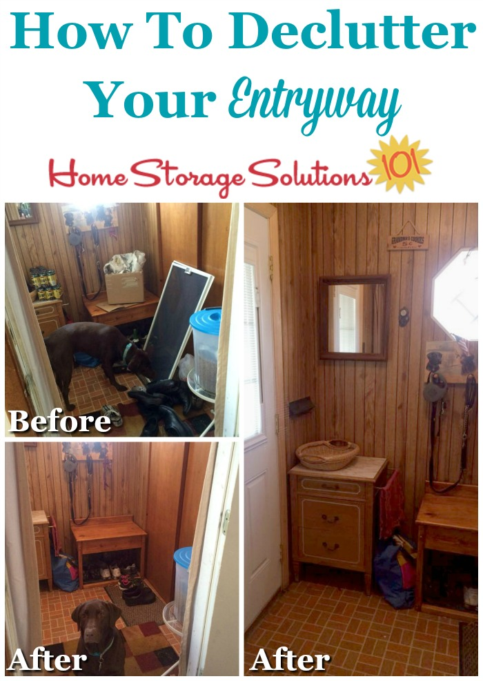 How to declutter your entryway or front entrance to your home to make it more functional and inviting {featured on Home Storage Solutions 101}