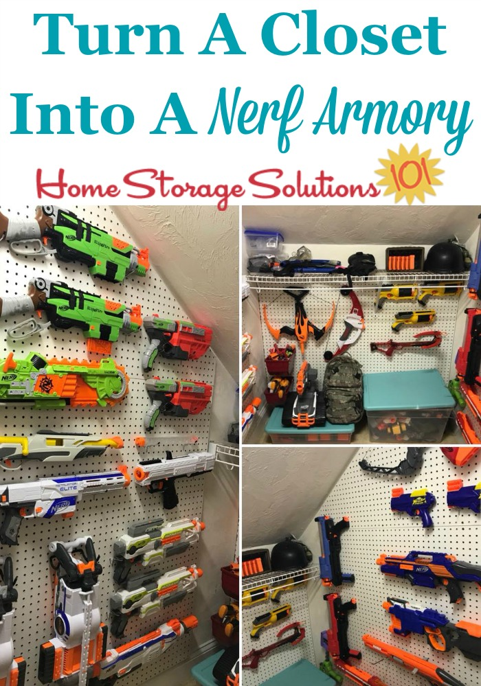 Turn a closet into a Nerf armory, plus more Nerf storage and organization ideas {on Home Storage Solutions} #ToyStorage #StorageIdeas #KidsRoom