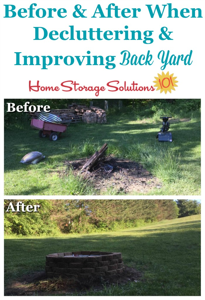Before and after when decluttering and improving back yard {part of the #Declutter365 missions on Home Storage Solutions 101}