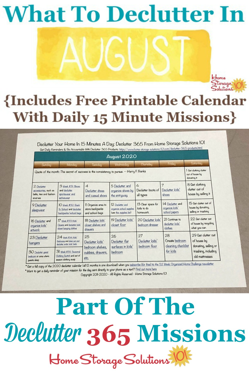 What to declutter in August 2020, including a free printable August decluttering calendar you can follow each day {on Home Storage Solutions 101} #Declutter365 #Decluttering #Declutter