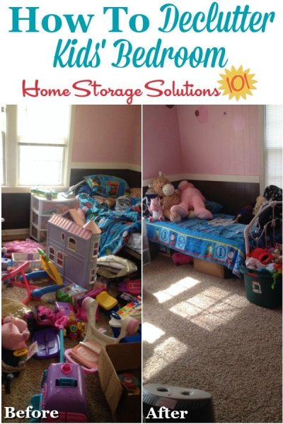 Before and after photos when get rid of kids' bedroom clutter {on Home Storage Solutions 101} #BedroomClutter #DeclutterBedroom #DeclutteringBedroom