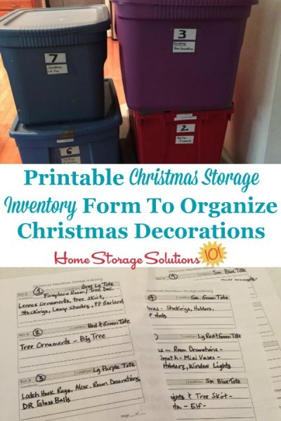 Free printable Christmas storage inventory form to organize Christmas decorations {on Home Storage Solutions 101} #ChristmasStorage #ChristmasOrganization #HolidayOrganization
