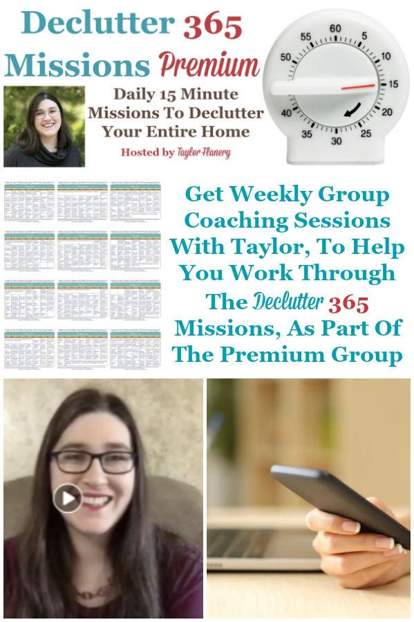 Get weekly group coaching sessions with Taylor Flanery, the author and creator of the Declutter 365 missions, to help you work through those missions, as part of the Declutter 365 Premium grouup {on Home Storage Solutions 101} #Declutter365 #DeclutterHelp #DeclutteringTips