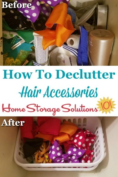 How to declutter hair accessories from your home, for both adults and kids {a #Declutter365 mission on Home Storage Solutions 101} #DeclutterBathroom #DeclutterAccessories