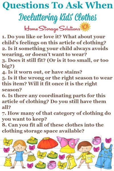Questions to ask when decluttering kids' clothes {on Home Storage Solutions 101} #DeclutterClothes #DeclutteringClothes #KidsClutter
