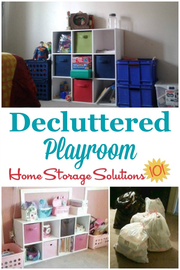After photos when Beth decluttered her kids' playroom {on Home Storage Solutions 101}