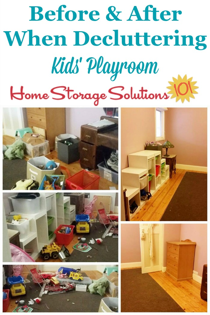 Before and after when decluttering a kids' playroom {on Home Storage Solutions 101}