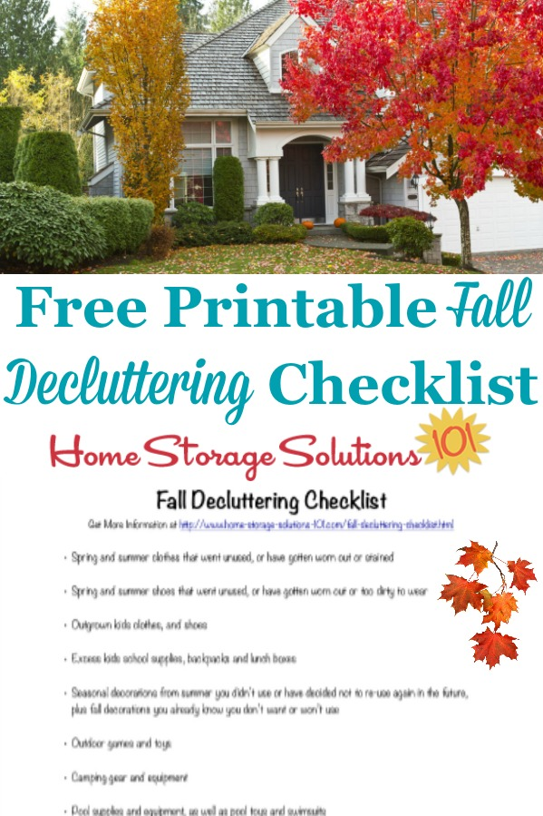 Here is a free printable fall decluttering checklist that you can use to get rid of clutter around your home when autumn begins {on Home Storage Solutions 101} #SeasonalChecklist #DeclutteringChecklist #FallChecklist
