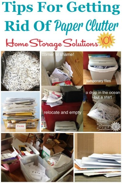 Here is a checklist of paper clutter items to consider getting rid of, plus a round up of Declutter 365 missions and articles to help you accomplish these tasks {on Home Storage Solutions 101} #PaperClutter #DeclutterPaper #PaperOrganization