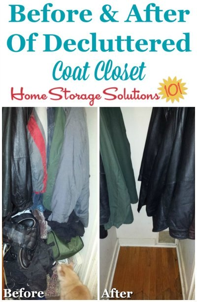 Before and after of decluttered coat closet {on Home Storage Solutions 101}