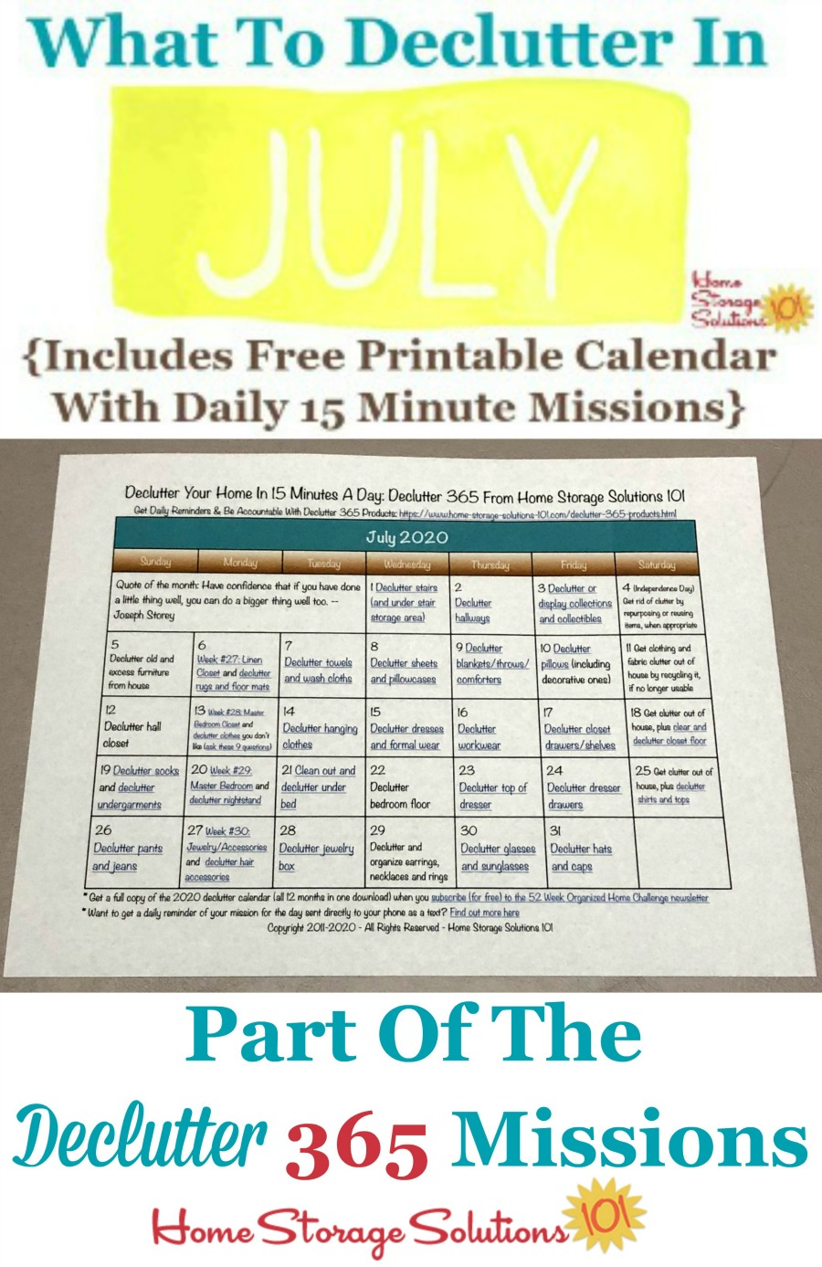 What to declutter in July 2020, including a free printable July decluttering calendar you can follow each day {on Home Storage Solutions 101} #Declutter365 #Decluttering #Declutter