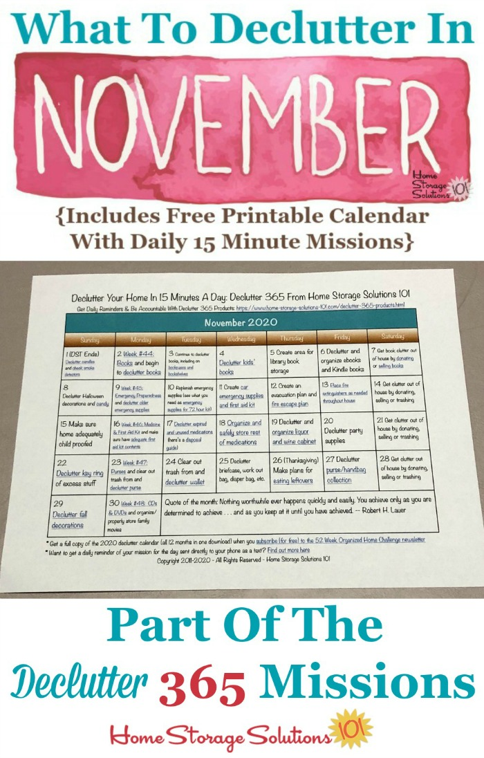 What to declutter in November 2020, including a free printable November decluttering calendar you can follow each day {on Home Storage Solutions 101} #Declutter365 #Decluttering #Declutter
