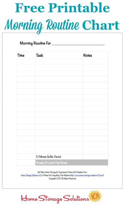 Free printable morning routine chart to help you get ready and out the door on time each day {courtesy of Home Storage Solutions 101}