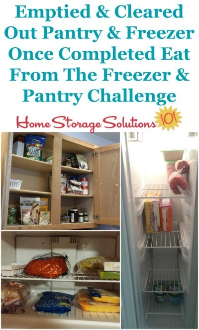 Once you finish the Eat from the Freezer & Pantry Challenge you'll have cleared out or emptied your pantry and freezer of excess older food, and will be ready to better organize the new fresher food you add to your food storage areas {on Home Storage Solutions 101} #PantryOrganization #MealPlanning #MenuPlanning