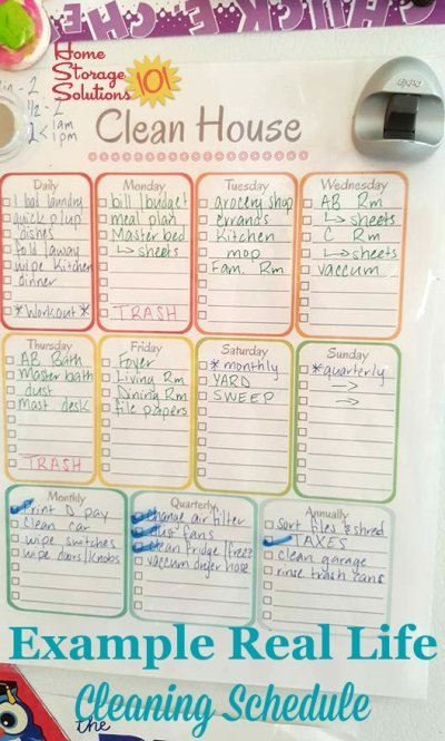 Example of personalized weekly cleaning schedules used in real life {on Home Storage Solutions 101}