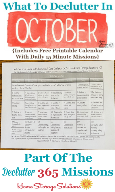 What to declutter in October 2021, including a free printable October decluttering calendar you can follow each day {on Home Storage Solutions 101} #Declutter365 #Decluttering #Declutter