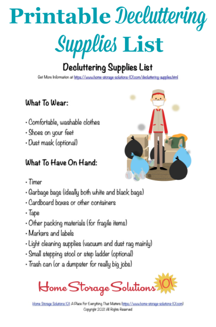 Here is a free printable decluttering supplies list that you can reference when you're doing the Declutter 365 missions to declutter your entire home over the course of one year {courtesy of Home Storage Solutions 101} #DeclutteringSupplies #Declutter365