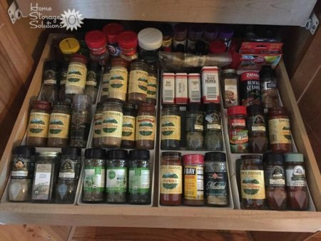 Organized kitchen spice drawer {on Home Storage Solutions 101}