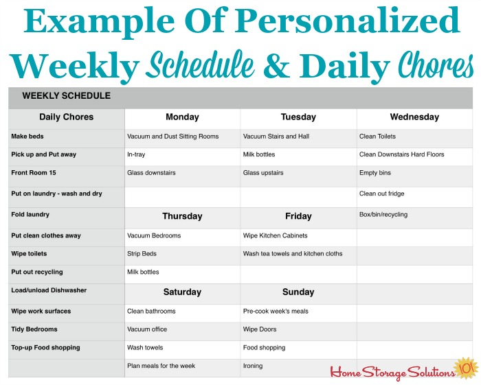 Example of personalized weekly cleaning schedule and daily chores created by a participant in the #Declutter365 missions, when working on the parts of the Create A House Cleaning Schedule Challenge {on Home Storage Solutions 101}