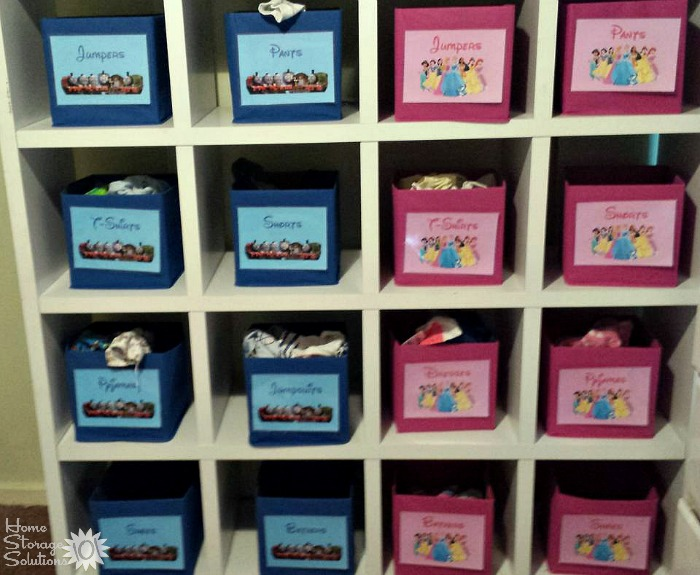 Help your kids both put away and find their folded clothes in the right spot with labeled drawers or other containers {featured on Home Storage Solutions 101}