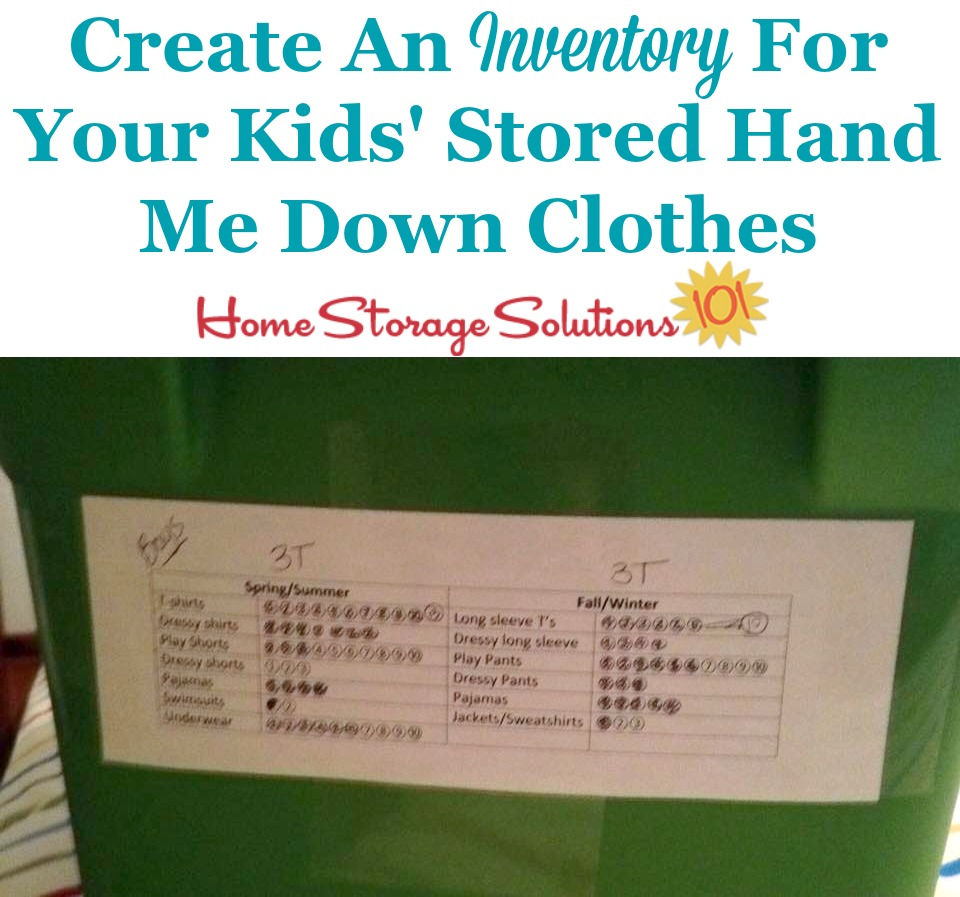 How and why to create an inventory for your kids' hand me down clothing while it's in storage {on Home Storage Solutions 101}