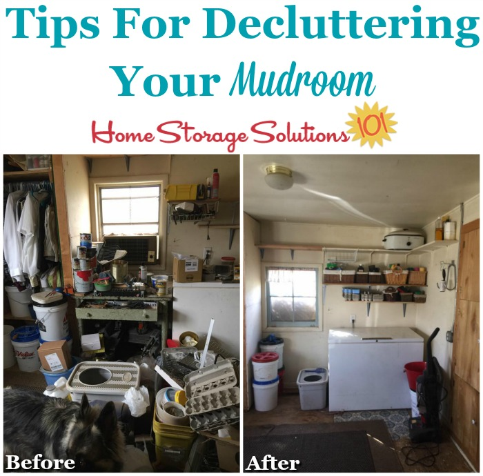 Tips for decluttering your mudroom, including before and after photos from participants of the Declutter 365 missions {on Home Storage Solutions 101} #DeclutterMudroom #MudroomClutter #DeclutteringTips