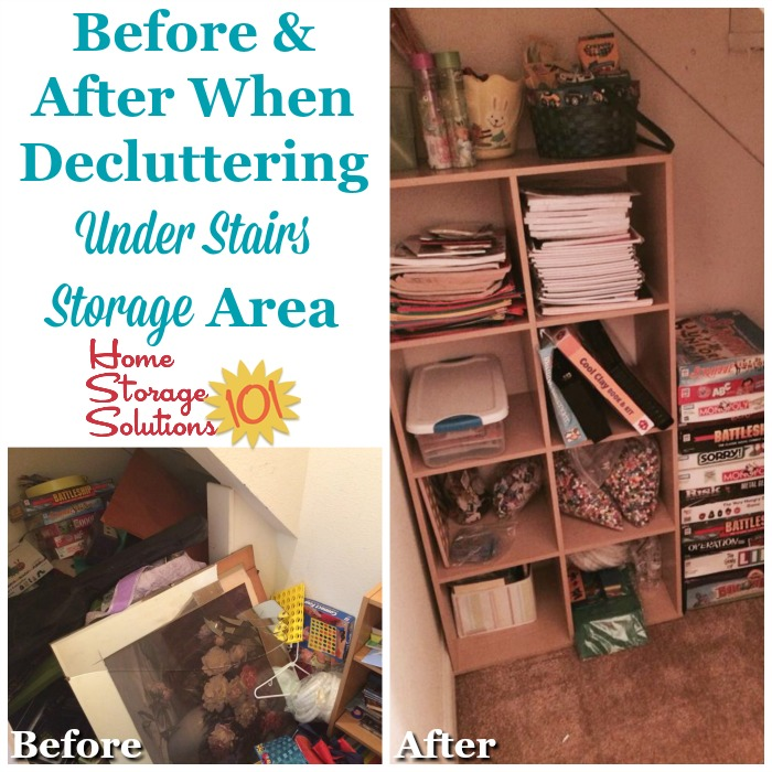 Before and after when decluttering under stairs storage area {featured on Home Storage Solutions 101}