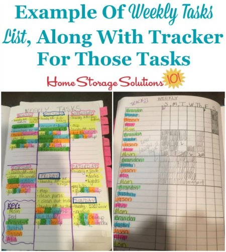 Example of weekly tasks list, along with tracker for those tasks {on Home Storage Solutions 101}
