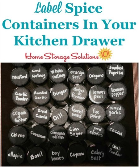 How and why to label spice cotainers in your kitchen drawer, to make cooking and preparing food easier {on Home Storage Solutions 101} #KitchenOrganization #PantryOrganization #OrganizingTips