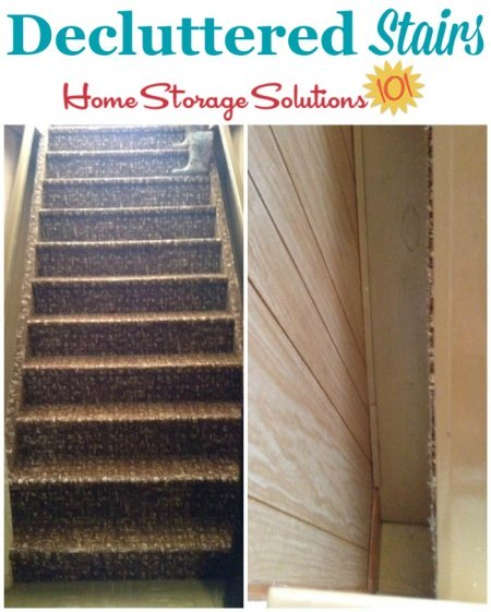 Photos of decluttered stairs leading to the basement {featured on Home Storage Solutins 101}