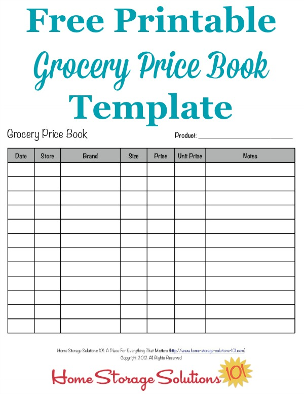 Free printable grocery price book template, plus instructions for how to use it to help you save money on groceries and other household items using sales cycles, whether you use coupons or not {on Home Storage Solutions 101}