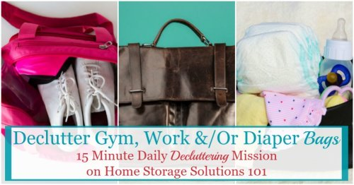 In this Declutter 365 mission you will declutter whatever bag you carry with you on a regular basis, such as a gym, work or diaper bag, and then develop routines to keep it clutter free from now on {on Home Storage Solutions 101}