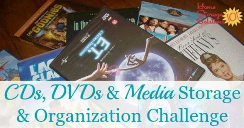 CD and DVD storage and organization challenge, part of the 52 Week Organized Home Challenge on Home Storage Solutions 101. This week we're decluttering and organizing CDs, DVDs, and other media, for both kids and adults. #OrganizingTips #HomeOrganization #OrganizedHome