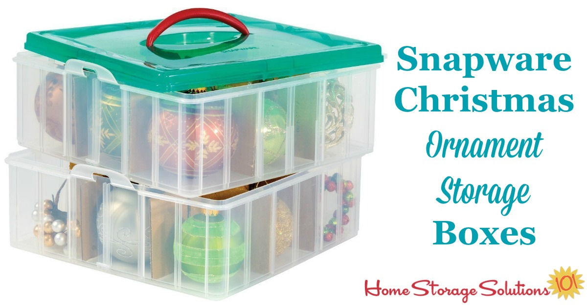 Christmas ornament storage boxes from Snapware, with dividers, keep individual ornaments organized and prevent them from clanking so they don't damage each other while in storage {featured on Home Storage Solutions 101} #OrnamentStorage #ChristmasStorage #HolidayStorage