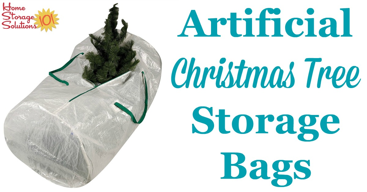 Artificial Christmas tree storage bags are great to make holiday decorating easy from beginning to end, since your tree stays clean and ready to put up year after year without disassembling it {featured on Home Storage Solutions 101} #ChristmasStorage #HolidayStorage #ChristmasTreeStorage
