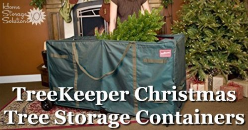 These TreeKeeper artificial Christmas tree storage containers are great for keeping your tree safe and clean while in storage, and even large heavy trees are easy to move with the rolling wheels {featured on Home Storage Solutions 101} #ChristmasStorage #HolidayStorage #ChristmasTreeStorage