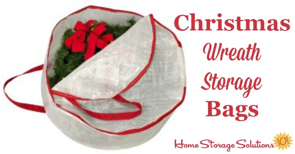 These hanging Christmas wreath storage bags are designed to fit most regular sized wreaths, and to keep your decoration clean and beautiful while it is in storage between holiday seasons {featured on Home Storage Solutions 101} #HolidayStorage #ChristmasStorage #WreathStorage