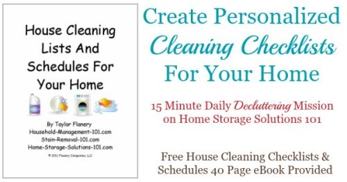 #Declutter365 mission to create personalized cleaning checklists for your home, which includes the free resource of a 40 page house cleaning checklists and schedules eBook {on Home Storage Solutions 101}