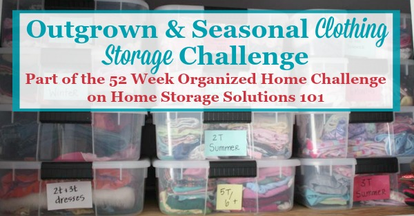 Here's how to deal with the most common clothing storage issues, including both kids outgrown clothes and the seasonal switch of garments twice a year {part of the 52 Week Organized Home Challenge on Home Storage Solutions 101}