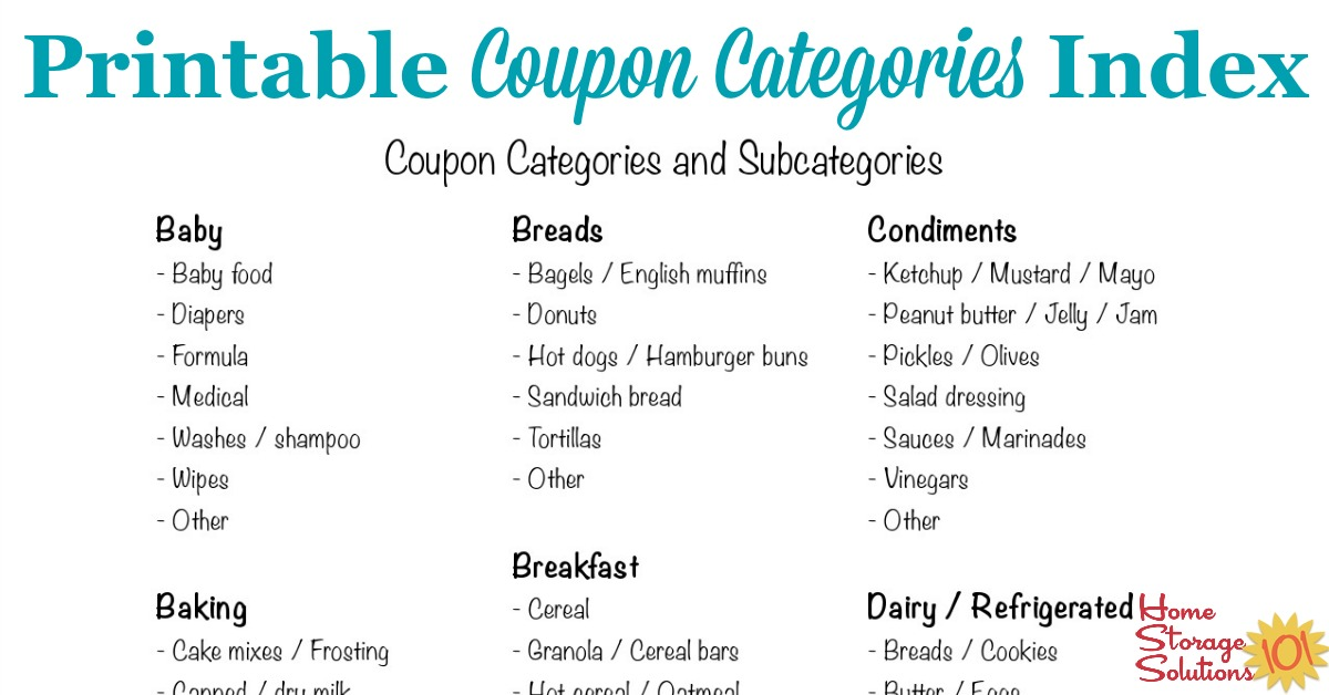 graphic relating to Coupon Binder Printable identify Coupon Groups And Subcategories For Scheduling Discount codes