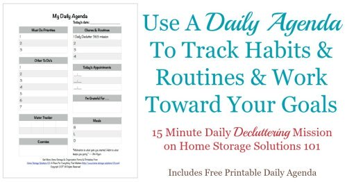 Use this free printable daily agenda to track your to do's, habits and routines, and to work daily toward meeting your goals {one of the Declutter 365 missions on Home Storage Solutions 101}